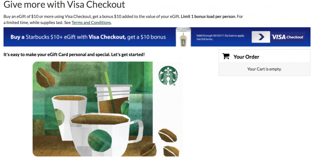 starbucks promotion gift card