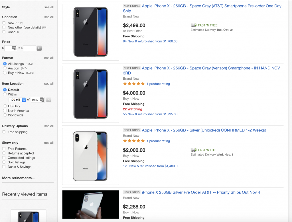 iPhone X ebay