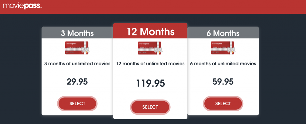 MoviePass Gift Cards. Screenshot: MoviePass.com
