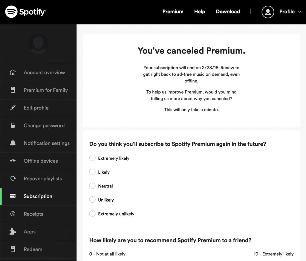 Canceling Spotify Premium. Screenshot: Spotify.