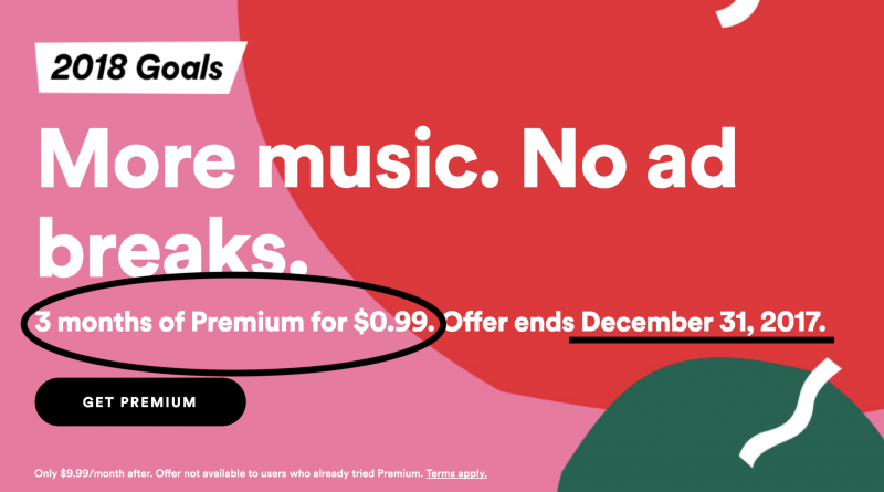 Spotify Premium 3 months for $0.99. Screenshot: Spotify.